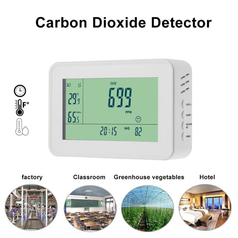 YEH-40 Carbon Dioxide Detector Analysis Instruments CO2 Monitor Alarm Temperature Humidity Meter TesterClock Alarm lED Display