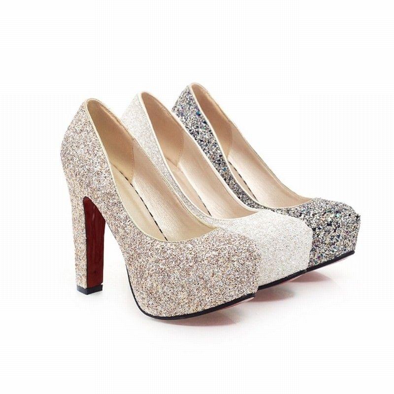 J & K 2019 nouvelle marque talons hauts paillettes chaussures de mariage pompes sequin offre spéciale mode talon épais plate-forme chaussure femme grande taille 32-43