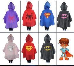 Super Hero Cloak Rainsuit Kids Superman Batman Spiderman Boys Girls Raincoat For Children Rainwear Waterproof Superhero Capes
