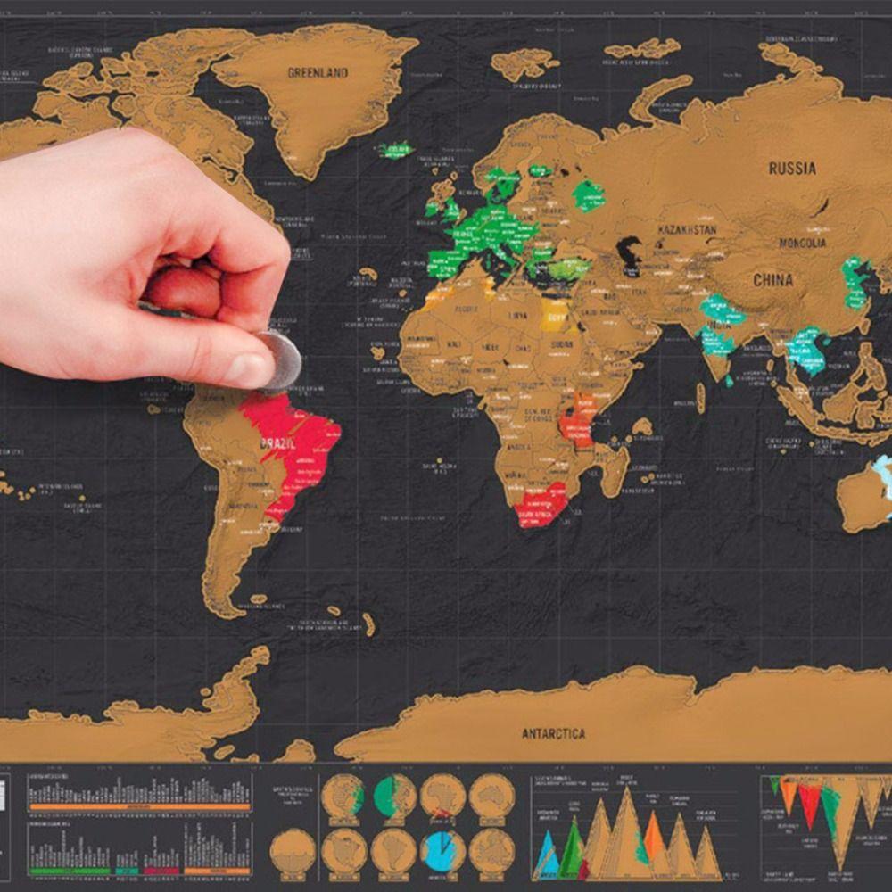 Mini Noir Luxe Voyage Gratter Carte Du Monde Affiche Voyageurs de Vacances Connexion Cadeau Personnalisé Voyage Vacances Carte 82.5x59.5 cm