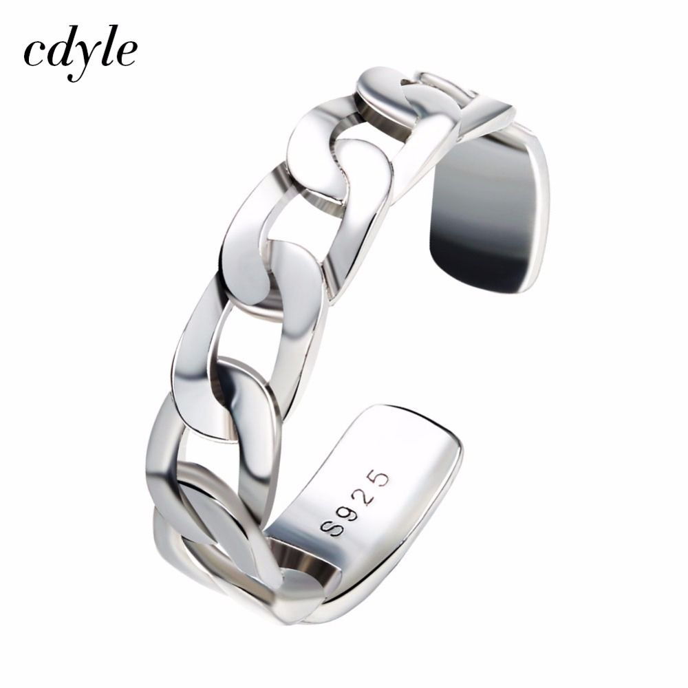Cdyle Retro Opening Women Ring Adjustable Fashion Rings S925 Sterling Silver Jewelry Anniversary Engagement Elegant Bijous