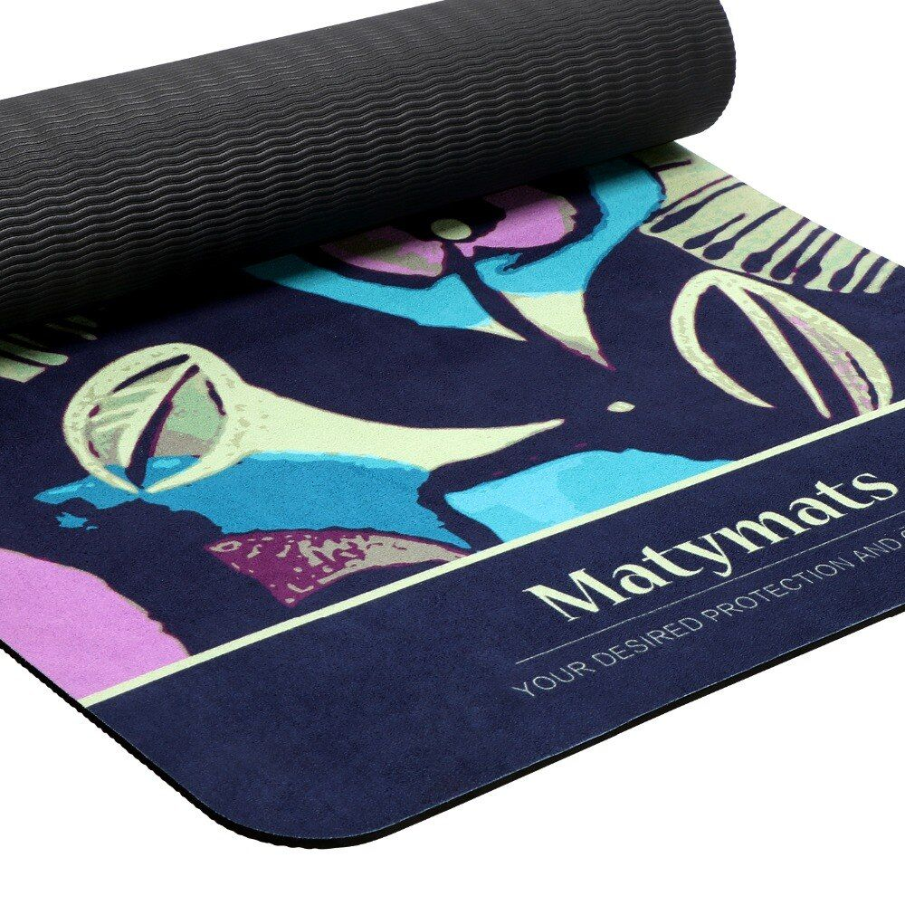 Matymats Women Non-Slip Hot Yoga Mat for Fitness Balance Pilates Rugs 4 color Microfiber TPE Printed Exercise Gym Mat
