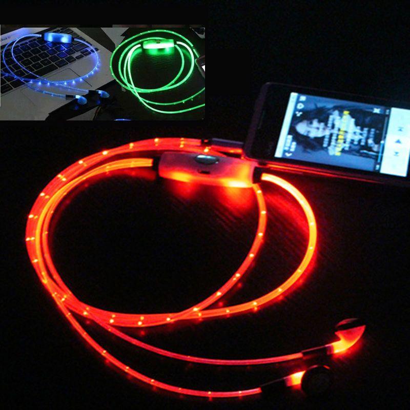 HANGRUI Lumineux Rougeoyant Écouteur LED Nuit Lumière Dans l'oreille écouteurs Plat Écouteurs Lueur dans le Foncé Casque Pour iphone mobile téléphone