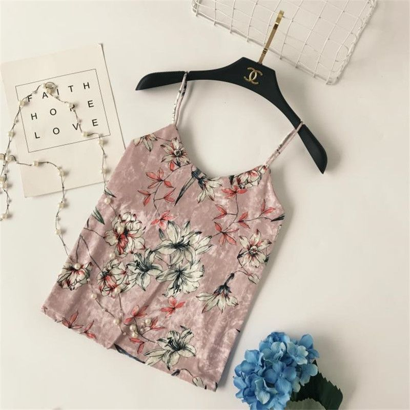 New Style Women Fashion Sexy Floral Print Velvet Camis Female Sweet V-Neck All-match Tanks Girls Top Woman Vest Hot Sale