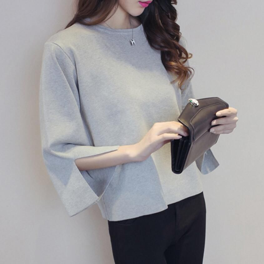 Round Neck Knitted Women 2018 Autumn Winter Fashion Causal Pullovers Split Cuff Loose Jumper Female Lady Oversize Red Sweater