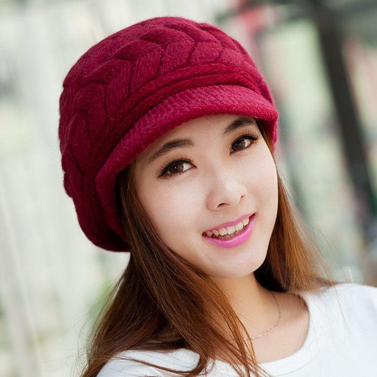 New Fashon Korean Ladies Women girls Hats Knitting knitted Hat female Lovely Wool women's Winter Warm Sun Cap