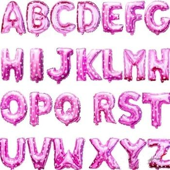 Pink 40cm 16 Inches A-Z Alphabet Foil Balloons English Letters Party Hat  Digit Air Ballons Birthday Party for Kids Toys