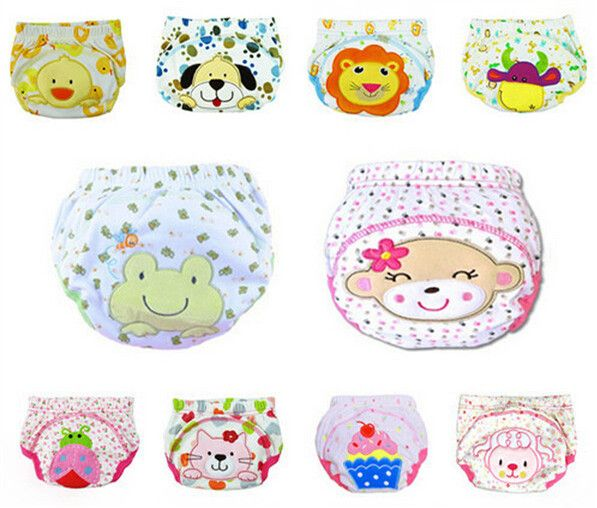 5pcs Lot NEW ! Baby Diapers Children Reusable Underwear Breathable Diaper Cover Cotton Training Pants Can Tracked QD05