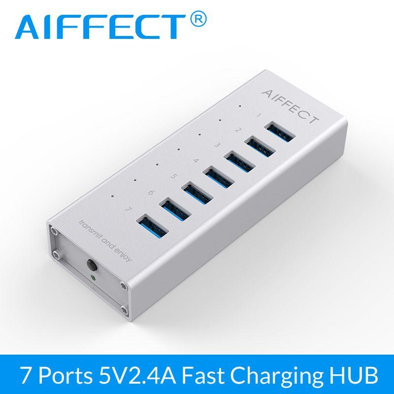 AIFFECT 7 Ports En Alliage D'aluminium BC1.2 Charge Rapide Chargeur USB 3.0 HUB 12 V 2A pour iPhone Xiaomi HTC Huawei avec 100 CM Date câble