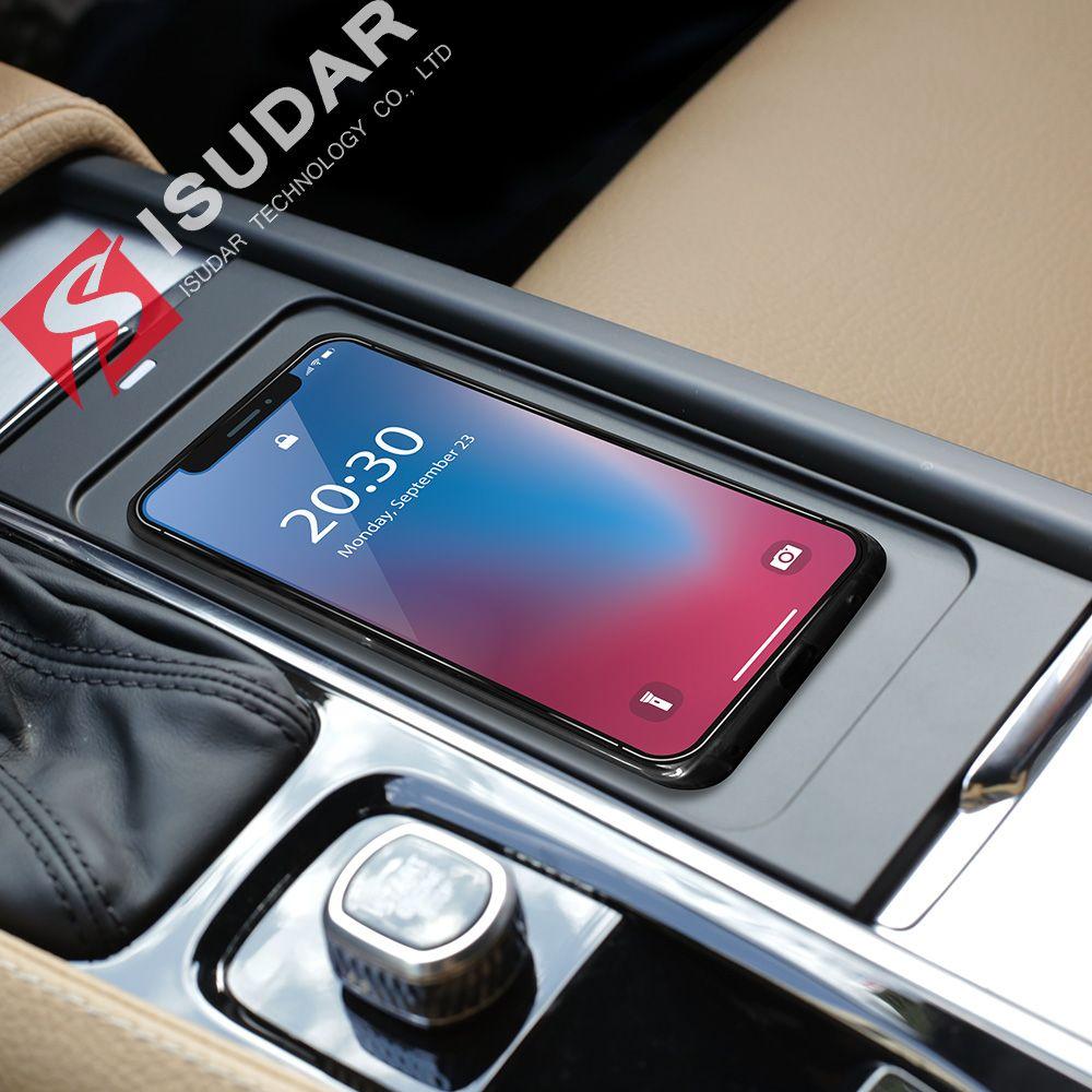 ISUDAR Auto Qi Auto Drahtlose Ladegerät Auto Schnelle Drahtlose Lade Für Volvo XC60/XC90/S90/V90 für iphone 8 X Für Samsung Für Huawei