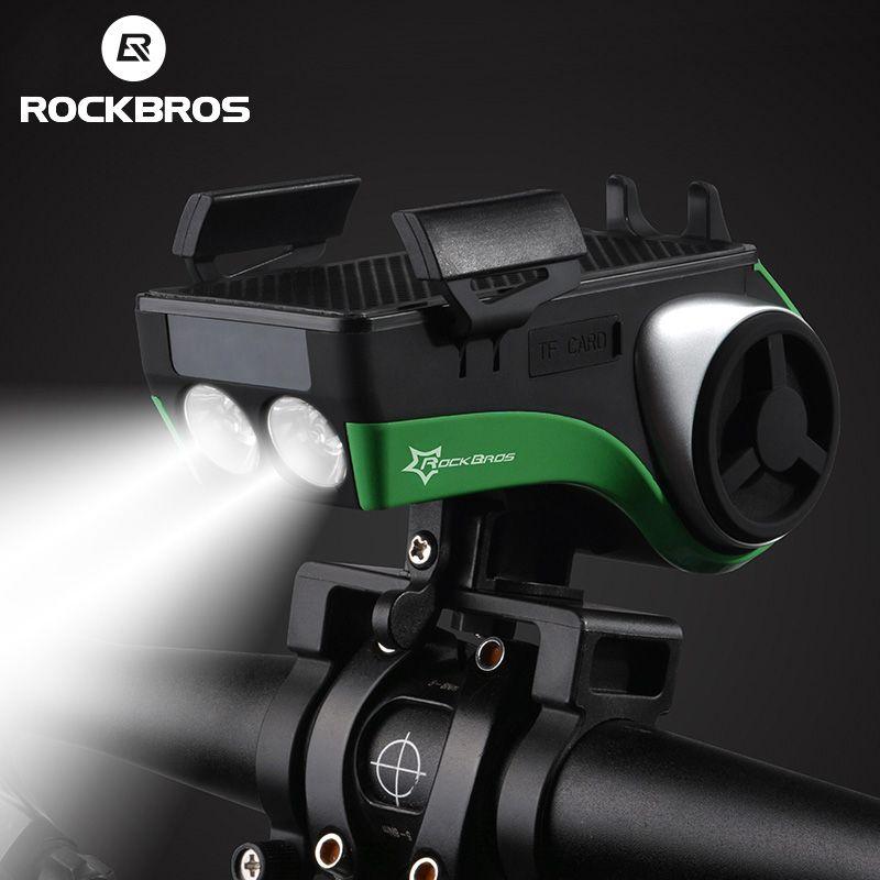 ROCKBROS Bicycle Flashlight Waterproof Bike Light Phone Holder Bluetooth Audio MP3 Speaker 4400mAh Power Bank Bicycle Ring Bell