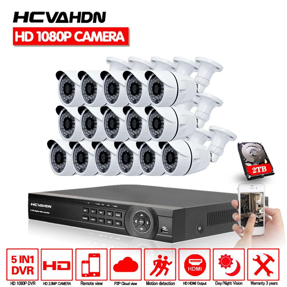 16CH AHD HD CCTV System 2.0MP CCTV Kamera 1080 p DVR Kit 1080 p HDMI Sicherheit Kamera System Remote View seguranca em casa