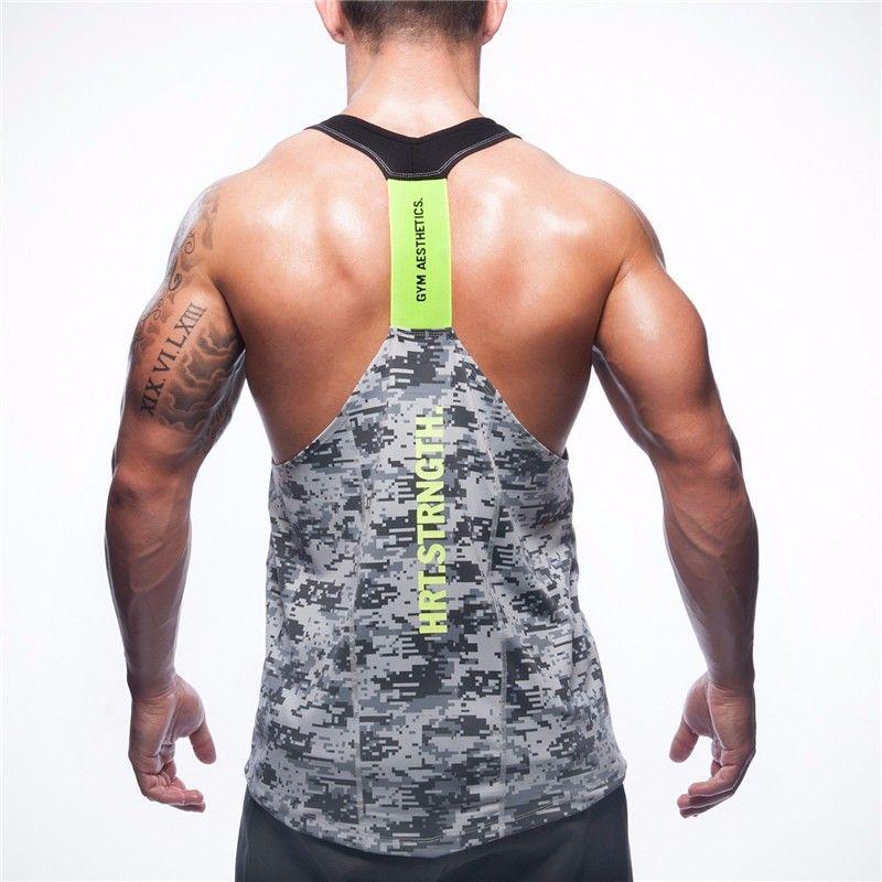 2017 été marque vêtements hommes réservoir hauts Stringer musculation Fitness absorber la sueur respirer librement hommes réservoirs vêtements Singlets.