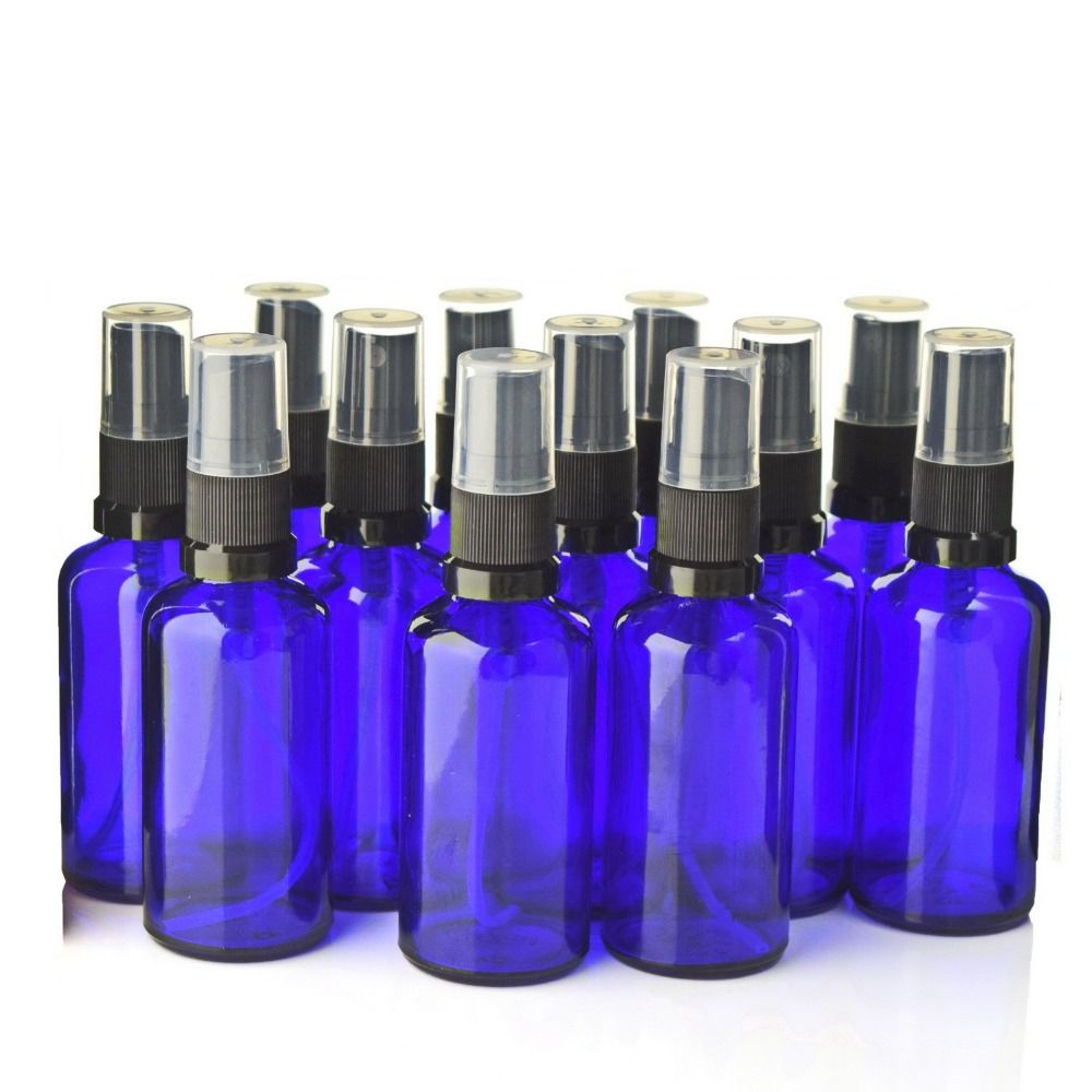 12pcs High Quality 50ml Cobalt Blue Glass Spray Bottles with Black Fine Mist Sprayer for essential oils aromatherapy perfume