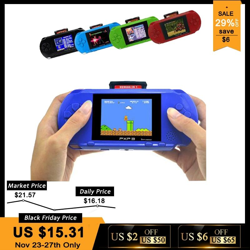 3 Inch 16 Bit PXP3 Slim Station Video Games Player Handheld Game With 2pcs Game Card <font><b>Console</b></font> built-in 150 Classic Games
