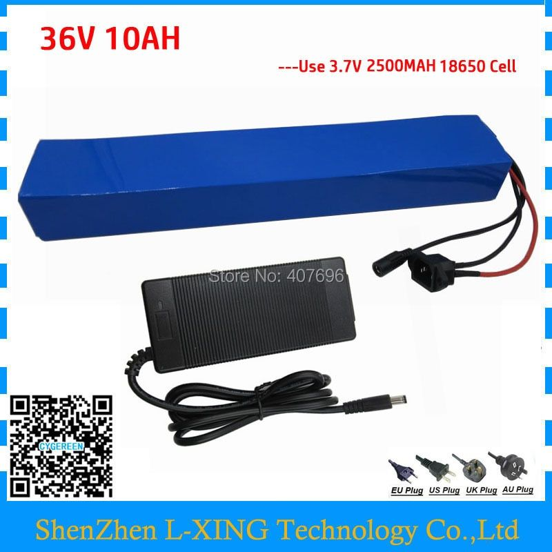 Hot sale 500W 36Volt Electric Bicycle Battery 36v 10Ah Lithium battery built in 18650 cell with 15A BMS + 42V 2A Charger