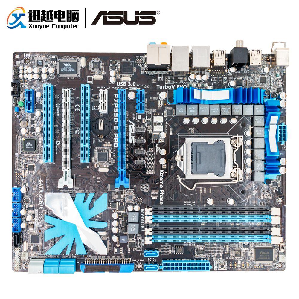 Asus P7P55D-E Pro Desktop Motherboard P55 LGA 1156 Support X3440 DDR3 16G SATA3 USB3.0
