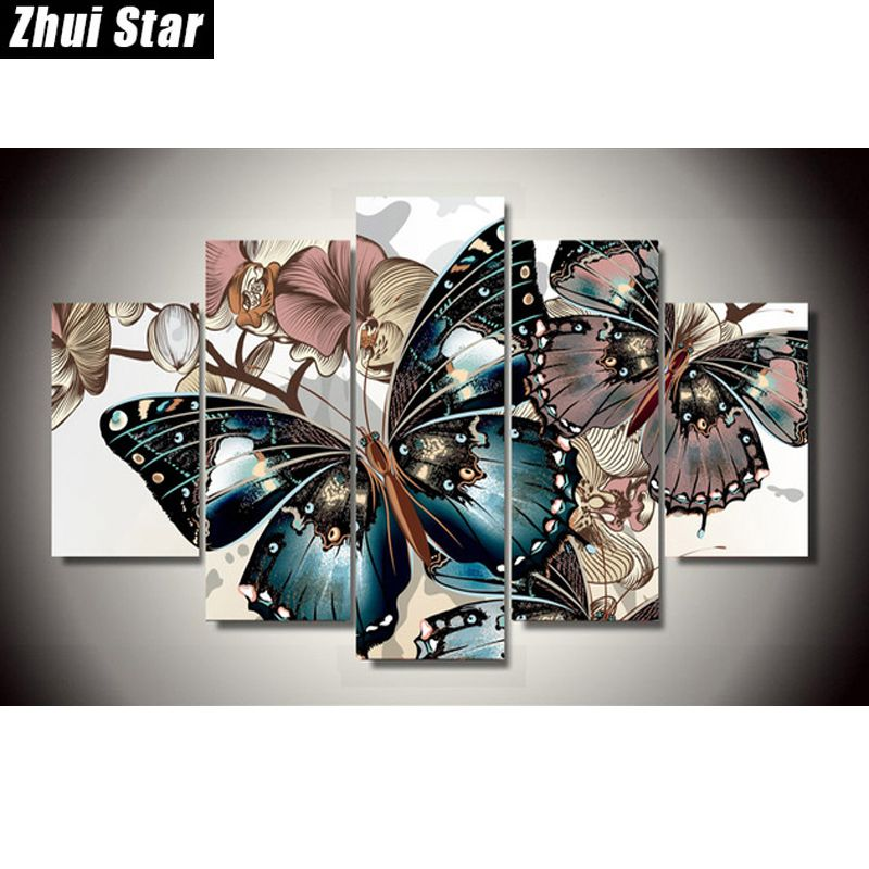 Zhui <font><b>Star</b></font> 5D DIY Full Square Diamond Painting butterfly Multi-picture Combination 3D Embroidery Cross Stitch Mosaic Decor