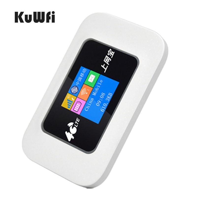 KuWfi Entsperrt 4G LTE Wifi Router Auto Mobile Wifi Hotspot Tasche LTE Modem 2100 Batterie Reise Mini Router mit Sim Einbauschlitz