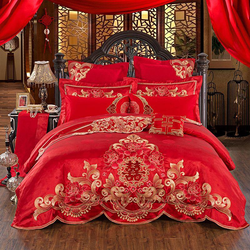 Ägyptischer baumwolle Hochzeit Tribute Silk Jacquard luxus Bettwäsche-sets Bettlaken Königin König größe 4/6 stücke