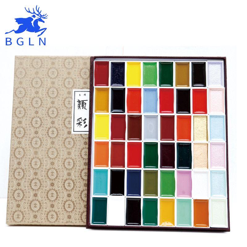 Japan Auspicious 12/18/24/35/48/60 Water Color Pigment Set Super Quality Professional Sumi-e Watercolor Paint Art Supplies