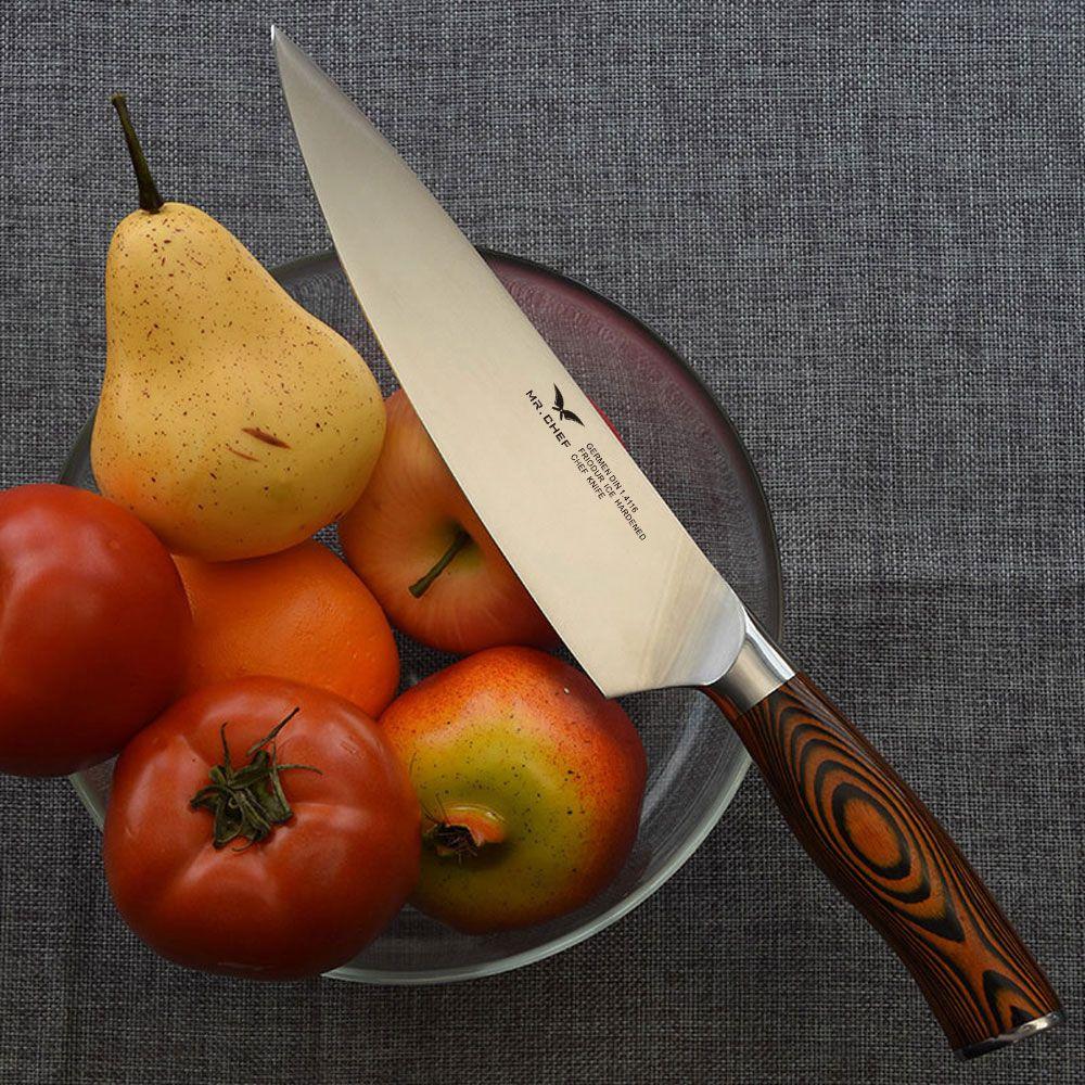Professionnel 8 pouces (200mm) Chefs couteau Style japonais cuisine couverts viande couperet allemand X50 acier Pakkawood poignée très forte