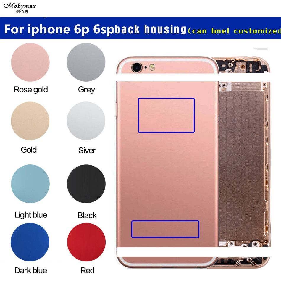 for iPhone 6p Back housing Battery Cover metal custom Case for iPhone 6splus Middle Chassis frame Rear cover can customize imei