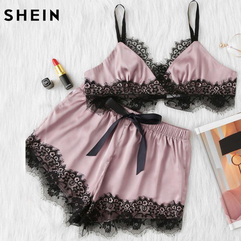Шеин розовые женские пижамы набор Цвет блок волнистый ресниц Кружево Спагетти ремень Растениеводство Топ на бретельках и короткий пижамны...
