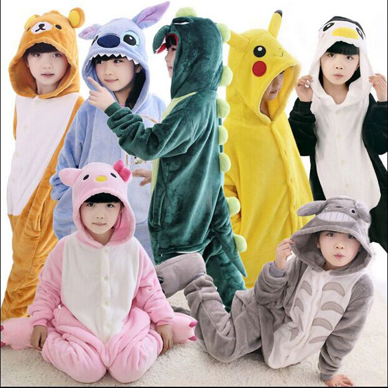 Новинка 2017; пижамы для маленьких мальчиков и девочек фланелевые пижамы с забавными животными «Стич», «панда» для детей на осень и зиму детск...