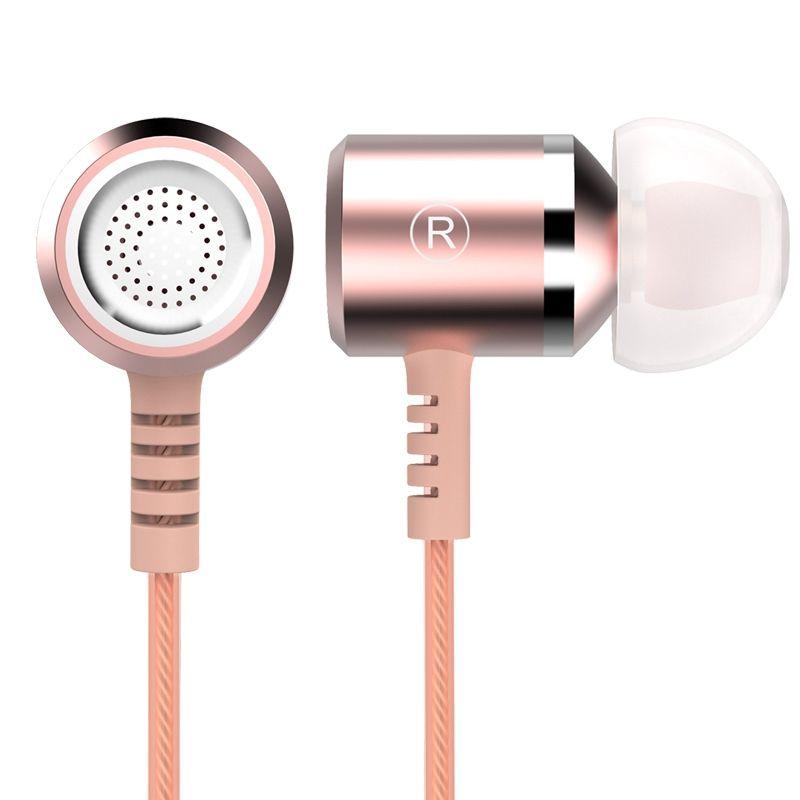 Or Rose écouteur tête téléphone marque originale stéréo basse 3.5mm qualité métal écouteurs pour Samsung iphone Xiaomi MP3 Auriculares