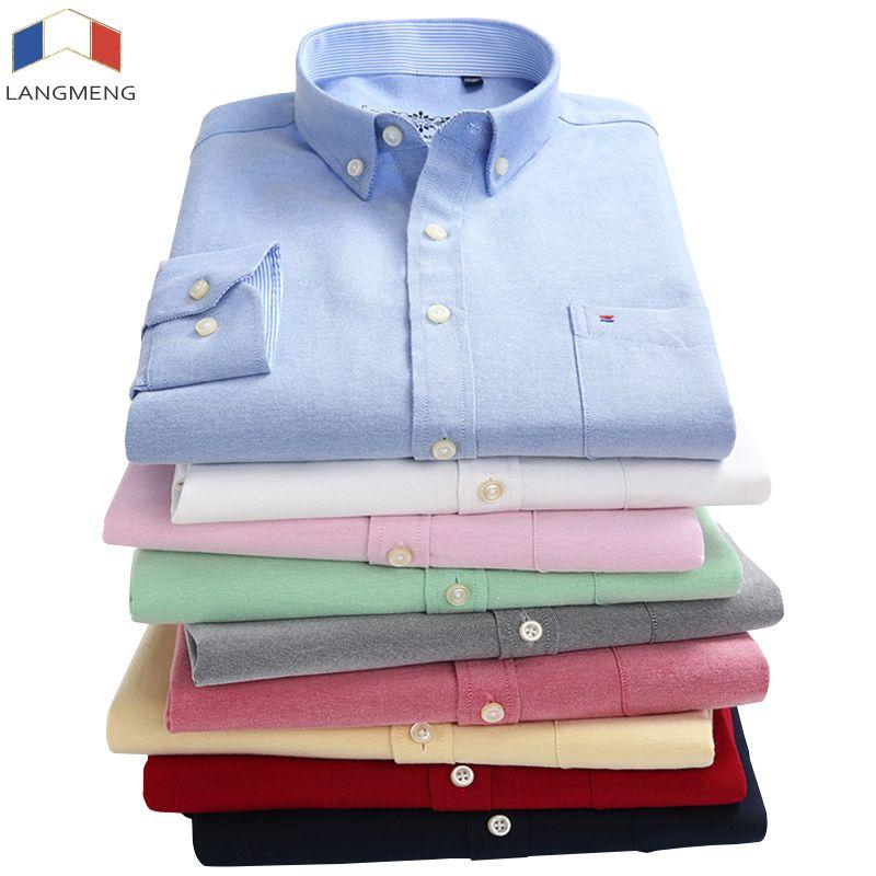 Langmeng nouveauté 60% coton hommes Oxford chemises décontractées printemps 2018 à manches longues Slim Fit rayé robe chemise hommes grande taille 5XL