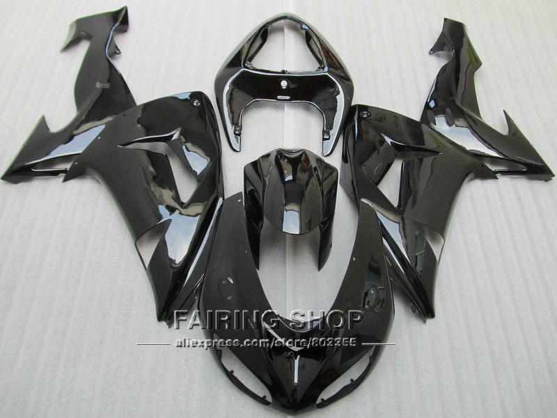 Motorrad Glänzend schwarzen Verkleidungen Für Kawasaki Ninja zx10r 2006 2007 06 07 100% Fit Verkleidung kit ems-freies x50