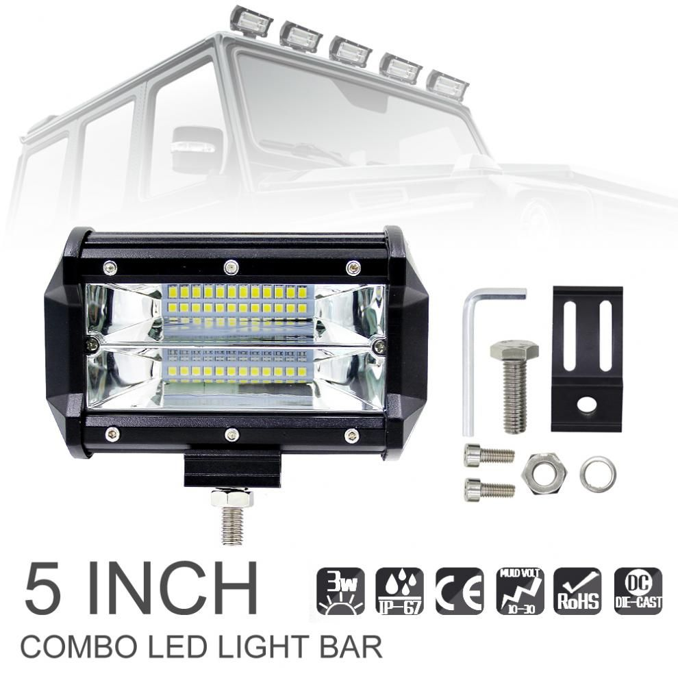 5 Inch 72W 10800LM Waterproof Durable Modified Auto Car Top LED Light with Two Rows light Bars for Off-road Car Pickup Wagon