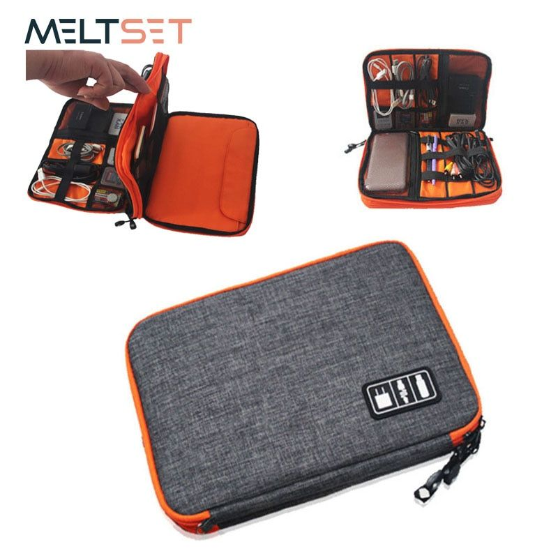 <font><b>Double</b></font> Layer Cable Digital Storage Bag Electronic Organizer Portable Travel Bag for USB Earphone Devices