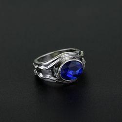 Cincin Vilya Nenya Narya Elrond Galadriel Gandalf Cincin Lotr Perhiasan Elf Tiga Cincin Wanita Perhiasan dengan Biru Kristal