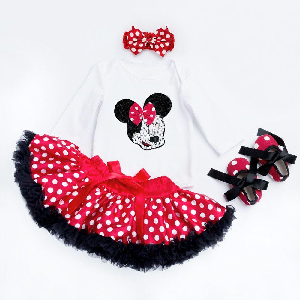 Coton mode bébé fille vêtements ensembles blanc à manches longues barboteuse Dot Tutu jupes bandeau chaussures vêtements pour bébés 0-2 ans bébé costume