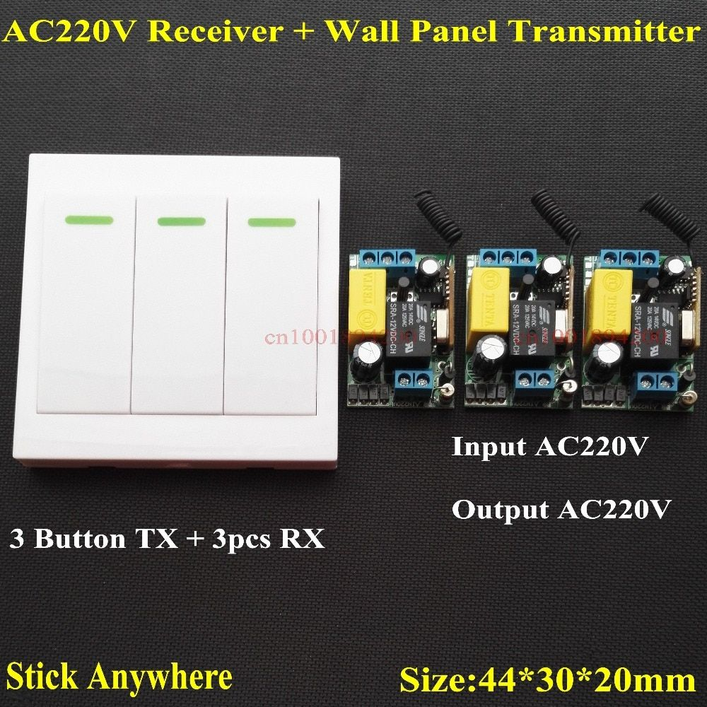 AC 220V 3 Way Channel Remote Control Switch + Wall Panel Wall Transmitter Remote Home Room Stairway Light Lamp Bulb LED RX TX
