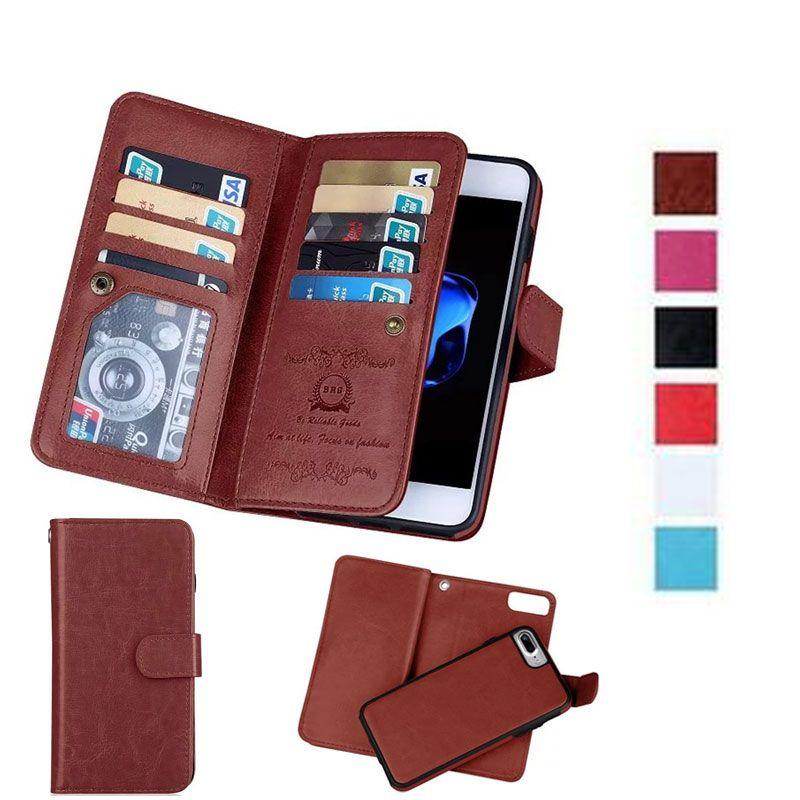 Cas En Cuir de luxe Portefeuille Cas Pour iPhone X 6 s 7 8 Plus 5S SE Cas 2In1 Magnétique Amovible Téléphone Sacs 9 Carte Slots + Cadre Photo