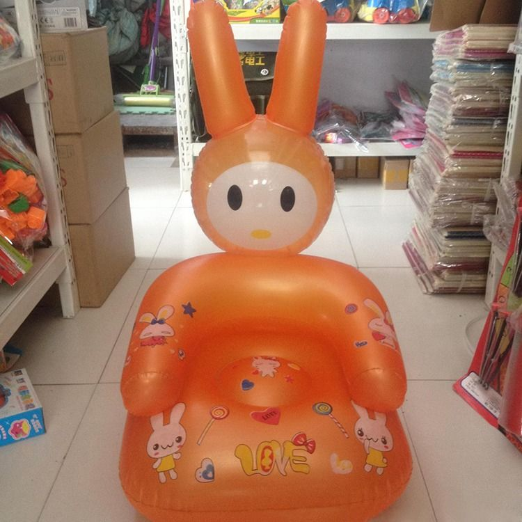 Hot Sale Cute Inflatable Chair Lovely Cartoon Baby Chair PVC Kids Learn Chairs Portable Baby Seats Random Color