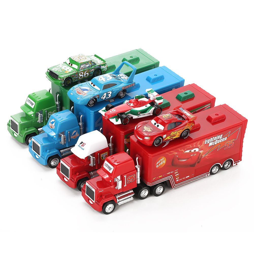 Disney Pixar Cars 2 Toys 2pcs Lightning McQueen City Construction Mack Truck The King 1:55 Diecast Metal Modle Figures For Kids