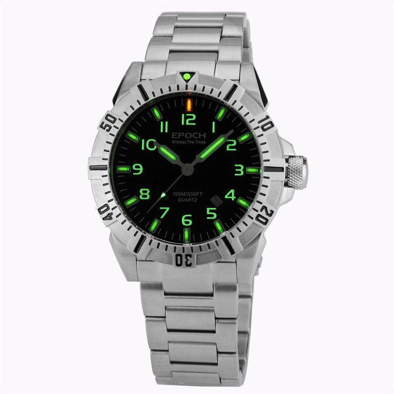 EPOCH 6020G steel strap waterproof 100m tritium gas tubes luminous sport diving quartz watch