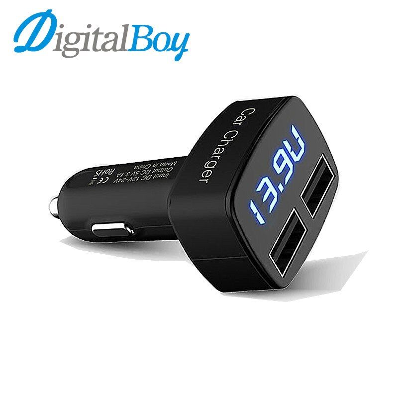 Intelligent Car Charger Universal 12V 24V To 5V Dual USB Car Charger LED Screen for Smart Phone GPS iPAD ETC