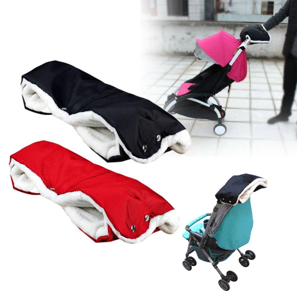 Baby Buggy Clutch Cart Muff Gloves Stroller Warmer Gloves Pushchair Hand Muff Waterproof Pram Accessory Black/ Red
