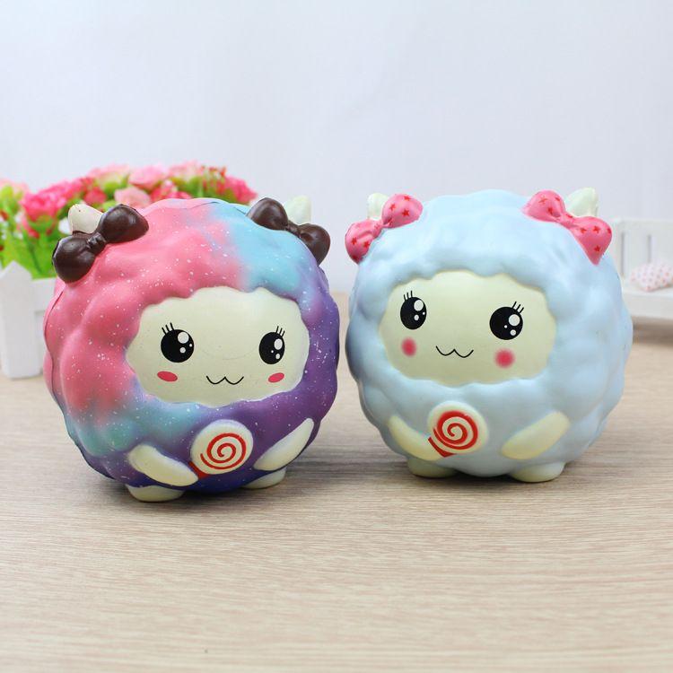 Rainbow Kawaii Beauty Sheep Squishy Toys Slow Rising Scented Bread Squshies Phone DIY Decor Lollipop Sheep Kids Toy Gift P15