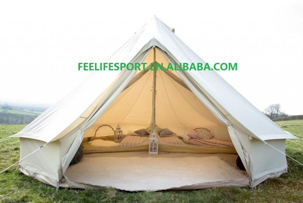 Free Shipping! 6M Waterproof Cotton Canvas Bell Tent with stove hole