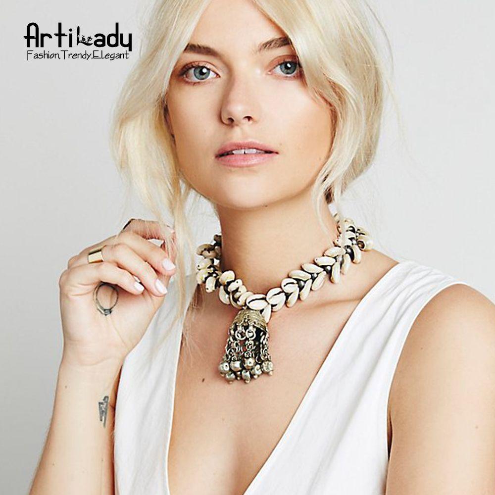 Artilady coquillages naturels pendentif collier vintage en alliage de zinc collier de gland pour les femmes bijoux cadeau de fête dropshipping