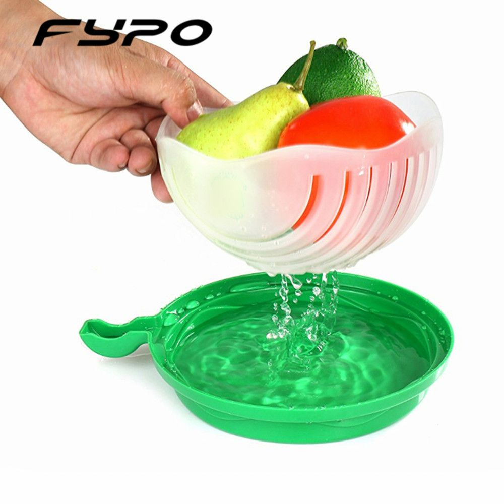 60 seconds salad cutter bowl cut fruit vegetables salad bowl Creative kitchen tools big large plastic mixing set adapter