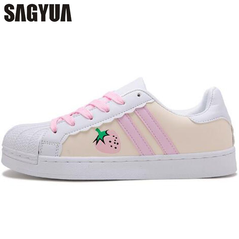 SAGYUA Women Students Casual Fashion Cartoon Embroidery Strawberry Kitten Patterns Sapatos Shoes Flat Zapatos Chaussures T225