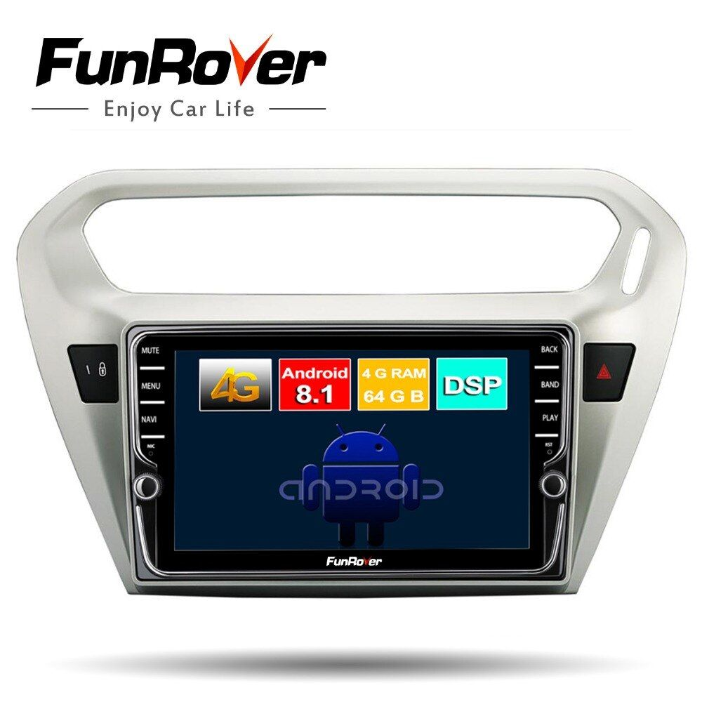 Funrover android 8.1 2din auto radio dvd-multimedia-player für Citroen Elysee/Peugeot 301 2014-2017 gps navigation stereo 8 core