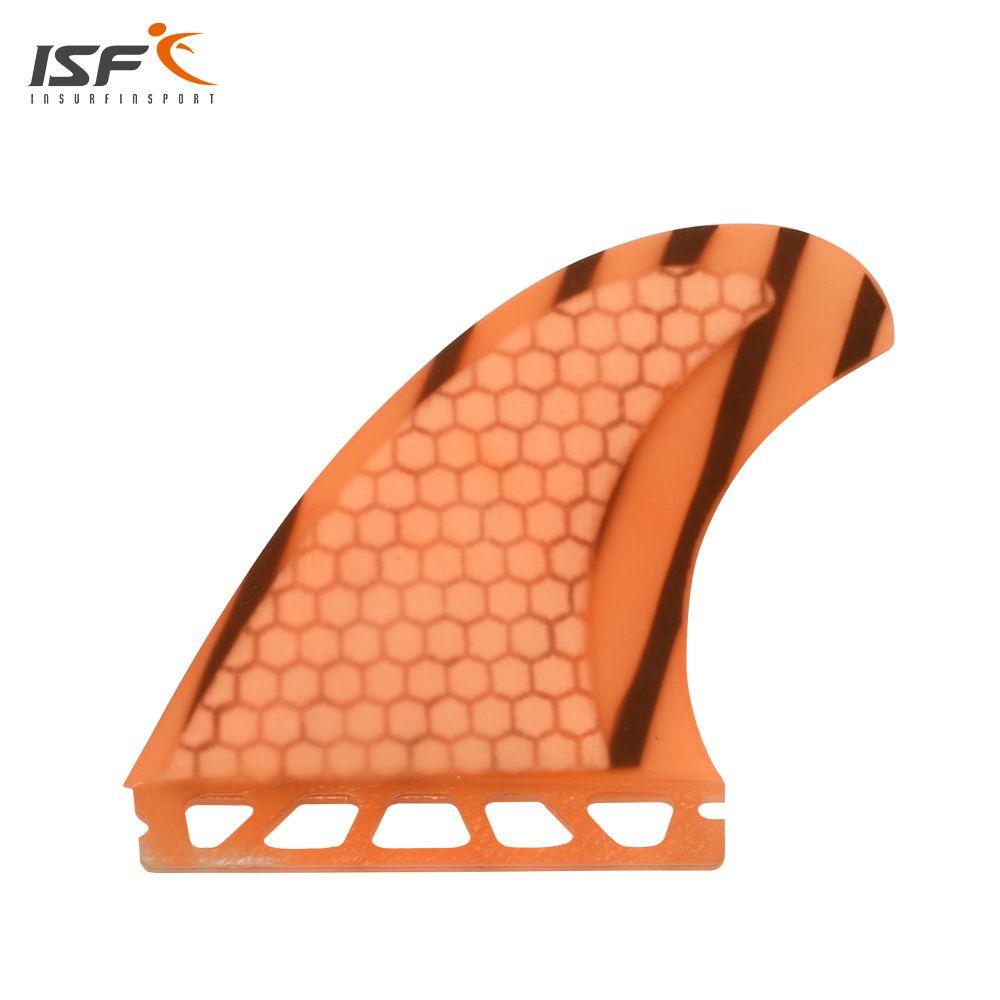 ISF neue angekommene honeycomb fiberglas orange zukunft surf finnen quad set surfen quihas zukunft SQ quad 4 teile/satz für sup surfbrett
